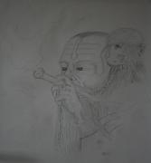 dessin personnages visage fumeur singe etranger : Fumeur népalais et son singe