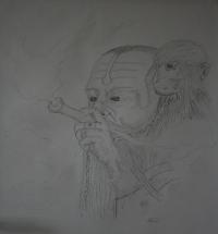 Fumeur népalais et son singe