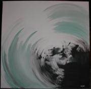 tableau abstrait abstrait bleu : tourbillon océan