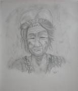 dessin personnages visage vieille etranger dame : vieille dame