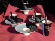 artisanat dart fleurs porcelaine lourdes art de la table cadeaux : Tasses et sous-tasses forme chapeau