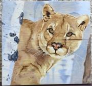 tableau animaux puma cougar liondemontagne pyrogravure : Puma