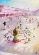 tableau personnages venise fille pigeons anna maillard : VENISE
