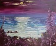 tableau paysages lune marine paysage anna maillard : MER ET LUNE