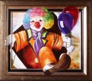 tableau scene de genre clown bonjour ballon anna maillard : BONJOUR