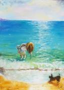 tableau paysages enfant marine paysage anna maillard : L'ENFANT et le CHIEN