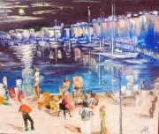 tableau paysages sttropez port paysage anna maillard : SAINT-TROPEZ LA NUIT