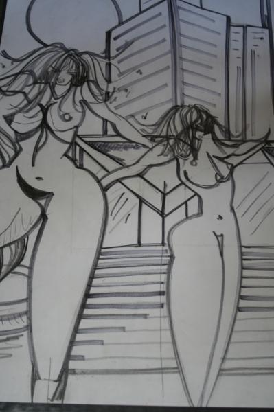 DESSIN architechture nues Nus Feutre  - femmes et building