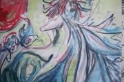 dessin nus femme nu cheveulure cheveaux : femme et vague