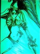 art numerique personnages costume antiquite femme dessin : FEMME et halo de lumiere