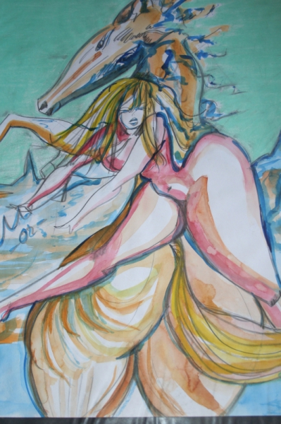 DéCO, DESIGN chevaux nu femme Nus  - femme nue au cheval