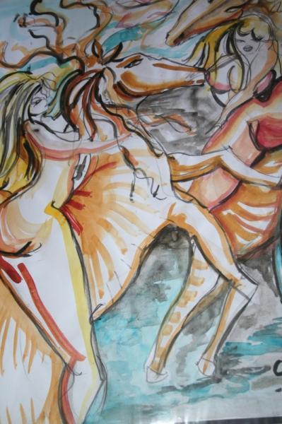 DESSIN cavaliere nues soleil Nus Aquarelle  - cavaliere au cheval