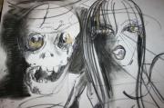 dessin abstrait crane femmes psychologie imaginaire : la femme et la mort