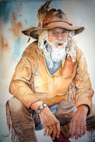 TABLEAU PEINTURE cowboy western portrait aquarelle Homme Personnages Aquarelle  - Vieux cowboy
