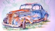 painting nature morte voiture aquarelle vieille auto epave aquarelle buick voiture : Buick 1936