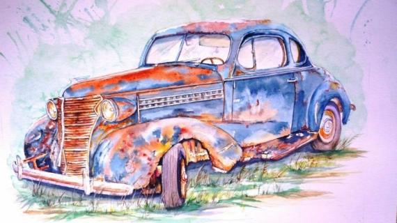 TABLEAU PEINTURE voiture aquarelle vieille auto épave aquarelle Buick voiture Nature morte Aquarelle  - Buick 1936