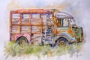 tableau autres vehicule fourgonnett camion citroen aquarelle vehicule aquarelle voiture : Fourgonnette citroën