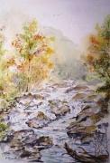 tableau paysages rivieres aquarelle nature eaux ruisseau : eaux vives