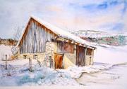 tableau paysages aquarelle paysage savoie ferme aquarelle campagne aquarelle grange aquarelle : Grange en Chartreuse