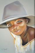 tableau personnages portrait ethnique portrait enfant portrait pastel chapeau : Malicieux
