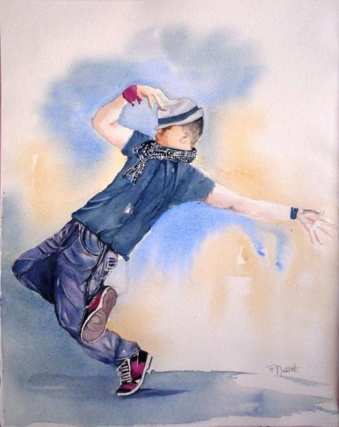 TABLEAU PEINTURE aquarelle danseur Hip hop danse moderne aquarelle moderne Personnages Aquarelle  - Danseur Hip Hop