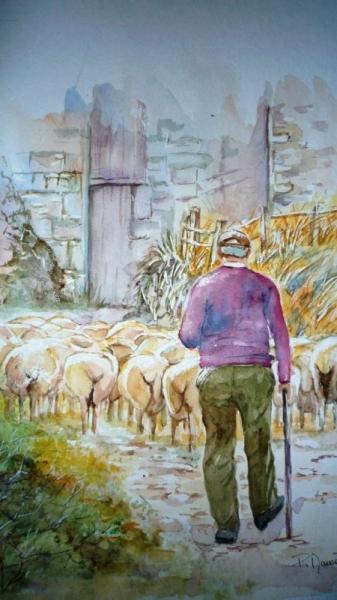 TABLEAU PEINTURE moutons berger animaux paysan Scène de genre Aquarelle  - La bergerie