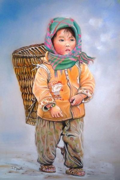TABLEAU PEINTURE enfant Népal pastel enfant pastel éthnique pastel fillette Personnages Pastel  - Fillette du Népal