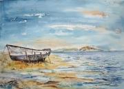 tableau marine marine aquarelle bateau mer : Echoué sur la grève