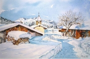 tableau paysages aquarelle hameau aquarelle paysage ne village hiver neige : Petit hameau