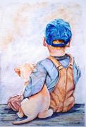 tableau personnages aquarelle enfant chien et enfant aquarelle garcon aquarelle aquarelle personnage : Mon meilleur ami