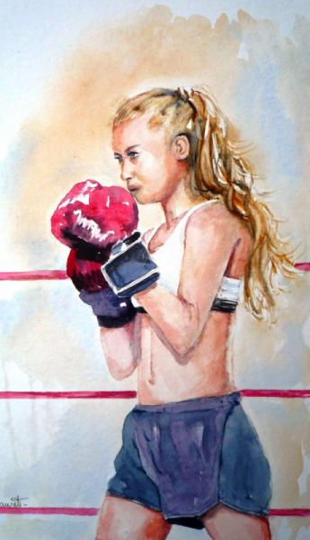 TABLEAU PEINTURE aquarelle femme sport aquarelle boxe aquarelle portrait aquarelle Personnages Aquarelle  - Sur le ring