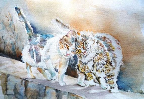 TABLEAU PEINTURE chats aquarelle chats animaux aquarelle félins Animaux Aquarelle  - Chats perchés
