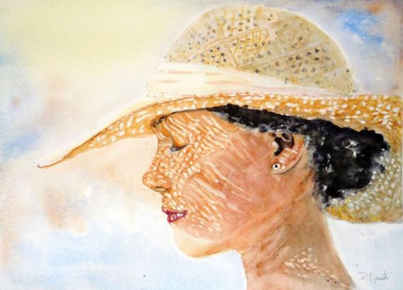 TABLEAU PEINTURE portrait femme aquar soleil été chapeau soleil femme au soleil Personnages Aquarelle  - Premier rayon