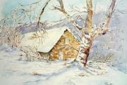 tableau paysages paysage aquarelle neige montagne hiver : Sous la neige