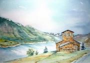 tableau paysages barrage roselend paysages de savoie paysage beaufortain aquarelle savoie : barrage de Roselend