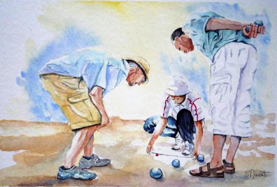 TABLEAU PEINTURE aquarelle pétanque aquarelle joueurs boules aquarelle personnages aquarelle sportifs Personnages Aquarelle  - Partie de pétanque