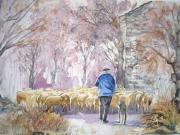 tableau scene de genre berger moutons alpage paysan : Le berger et ses moutons