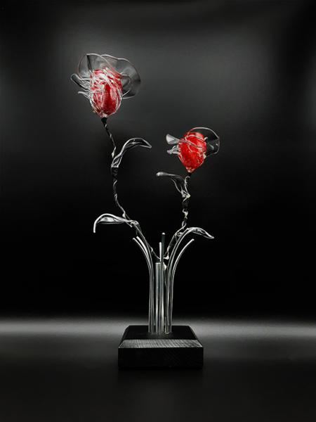 SCULPTURE bouquet lumineux rosier bouquet de roses roses éternelles Fleurs Métal  - Bouquet lumineux de roses rouges