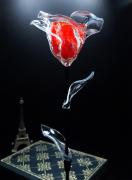 artisanat dart fleurs rose rouge rose eternelle fleur eternelle rose en verre : Rose éternelle