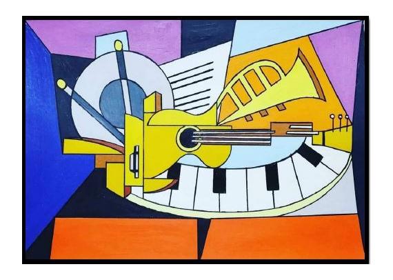 TABLEAU PEINTURE Peinture a l'huile  - Les instruments musicales