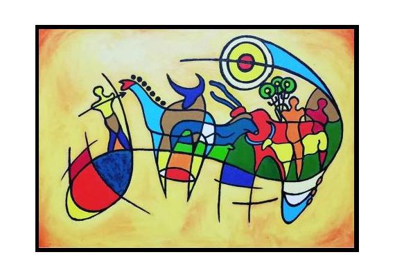 TABLEAU PEINTURE Peinture a l'huile  - Graphiques paléolithiques.(Tassili)