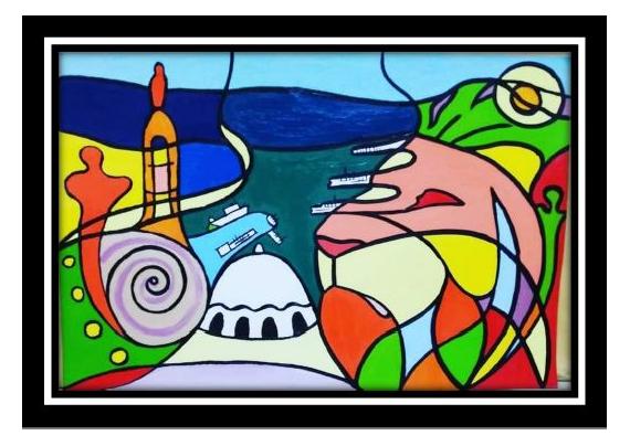 TABLEAU PEINTURE Peinture a l'huile  - Vue d'Oran