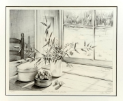 dessin nature morte nature morte litho dessin crayon : Pot de cerise