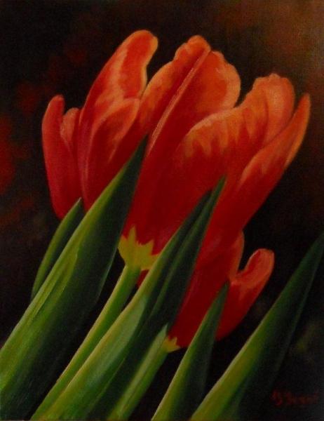 TABLEAU PEINTURE fleur tulipe rouge vert Fleurs Peinture a l'huile  - Enflamer