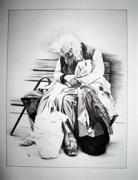 dessin personnages portrait veillard sans abri dessin : Le Clochard