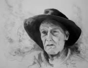 dessin personnages portrait homme chapeau noir crayon : Ti-Jean