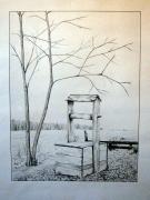 dessin paysages litho paysage dessin crayon : Puit à St-André