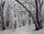 dessin paysages paysage maison crayon encre : Au bord de la rivère