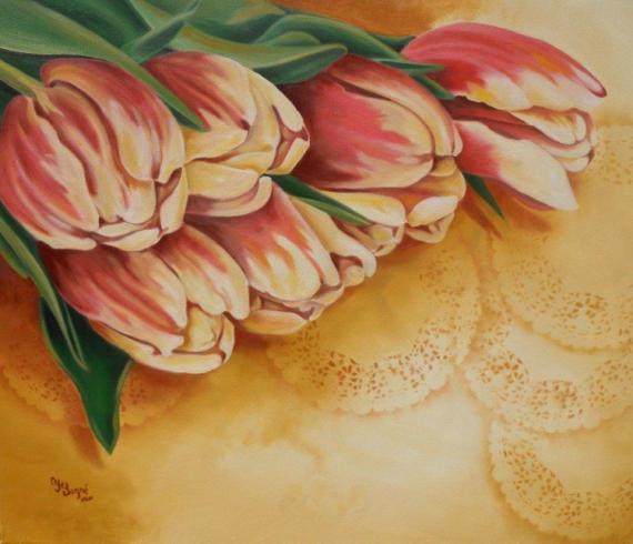 TABLEAU PEINTURE fleur tulipe jaune gros plan Fleurs Peinture a l'huile  - Tulipe et broderie