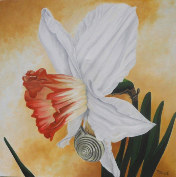 TABLEAU PEINTURE fleur limace lis gros plan Fleurs Peinture a l'huile  - Colocataire